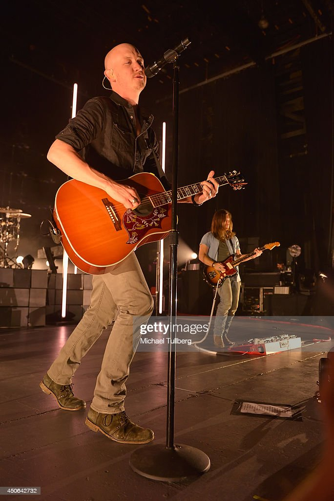 Vocalist Isaac Slade and guitarist Dave Welsh of The Fray perform at The Greek Theatre on June 14, 2014 in Los Angeles, California.