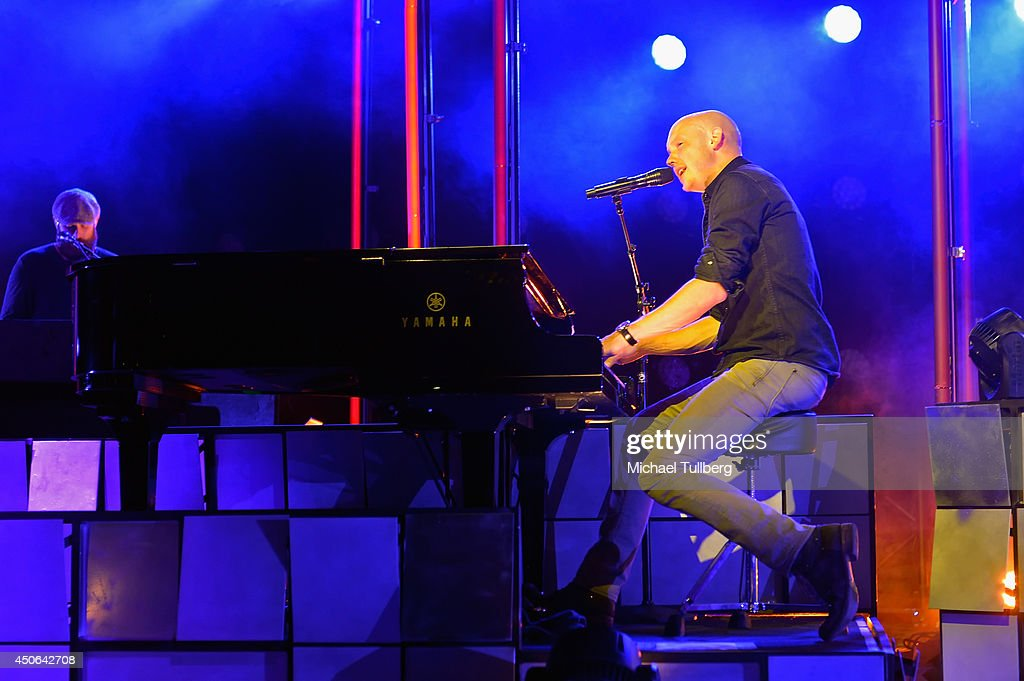 Vocalist Isaac Slade of The Fray performs at The Greek Theatre on June 14, 2014 in Los Angeles, California.