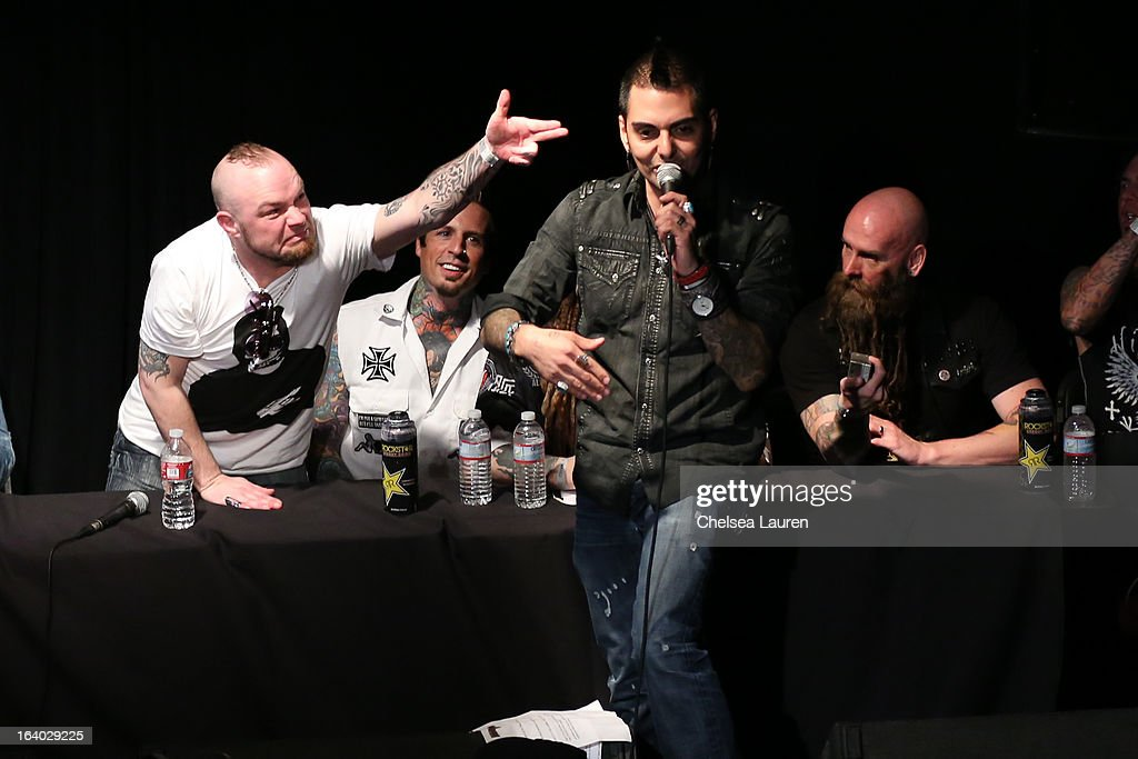 Vocalist Ivan Moody, drummer Jeremy Spencer, radio personality Jose Mangin and bassist Chris Kael attend the 6th annual Rockstar energy drink Mayhem festival press conference at The Whiskey A Go Go on March 18, 2013 in West Hollywood, California.