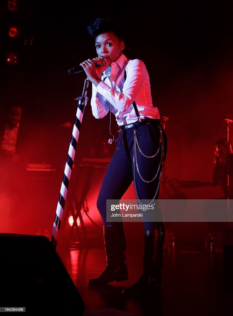 Vocalist <a gi-track='captionPersonalityLinkClicked' href=/galleries/search?phrase=Janelle+Monae&family=editorial&specificpeople=715847 ng-click='$event.stopPropagation()'>Janelle Monae</a> performs at the BlackBerry Z10 Launch Event at Best Buy Theater on March 21, 2013 in New York City.