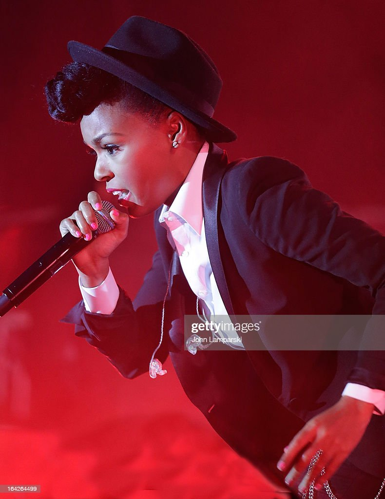 Vocalist <a gi-track='captionPersonalityLinkClicked' href=/galleries/search?phrase=Janelle+Monae&family=editorial&specificpeople=715847 ng-click='$event.stopPropagation()'>Janelle Monae</a> performs BlackBerry Z10 Launch Event at Best Buy Theater on March 21, 2013 in New York City.