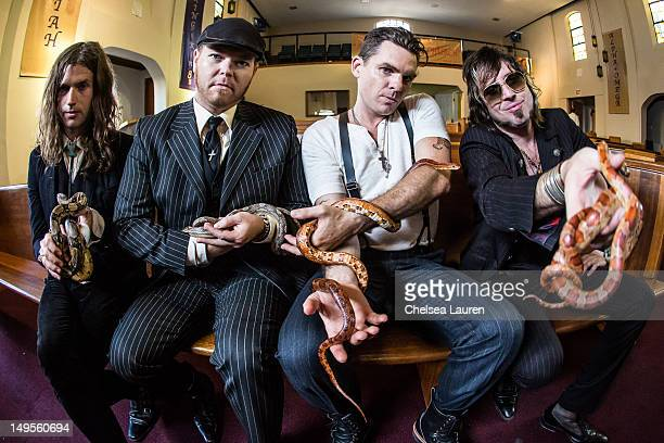 Vocalist Jay Buchanan bassist Robin Everhart drummer Mike Miley and guitarist Scott Holiday of Rival Sons pose at the 'Keep On Swinging' music video...