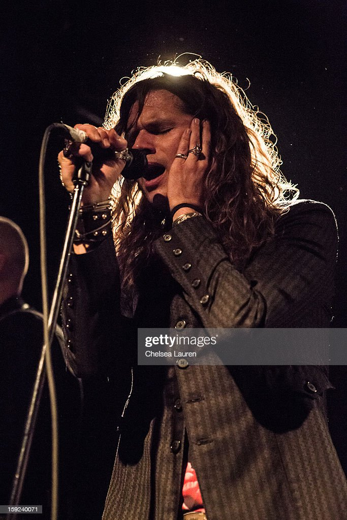 Vocalist Jay Buchanan of Rival Sons performs at The Echo on January 9, 2013 in Los Angeles, California.