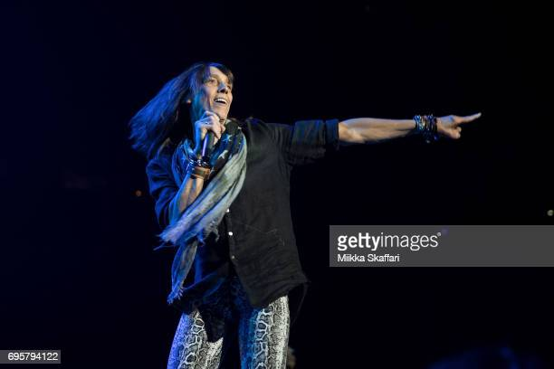 Vocalist Jeff Keith of Tesla performs at ORACLE Arena on June 13 2017 in Oakland California