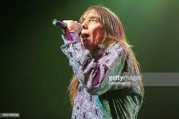 Vocalist Jeff Keith performs on stage with Tesla on September 19 2014 in El Cajon California