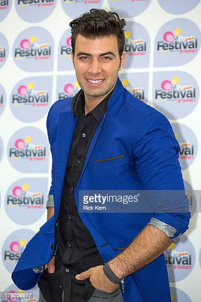 Vocalist Jencarlos Canela poses backstage during Festival People en Español Presented by Target at The Alamodome on August 31 2013 in San Antonio...
