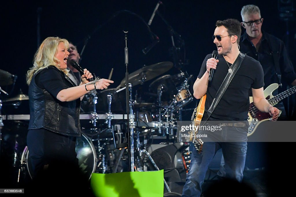 Vocalist Joanna Cotten (L) and Musician Eric Church (R) performs during his Holdin' My Own Tour at Barclays Center on January 27, 2017 in the Brooklyn borough of New York City.