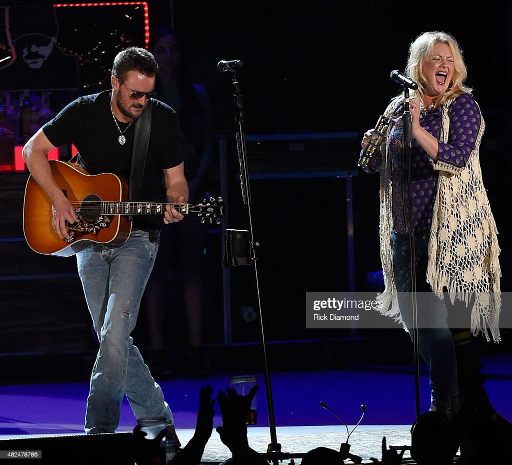 Vocalist Joanna Cotten (right) joins Singer/Songwriter Eric Church for the opening of the new Ascend Amphitheater with the first of two sold out solo shows on July 30, 2015 in Nashville, Tennessee.