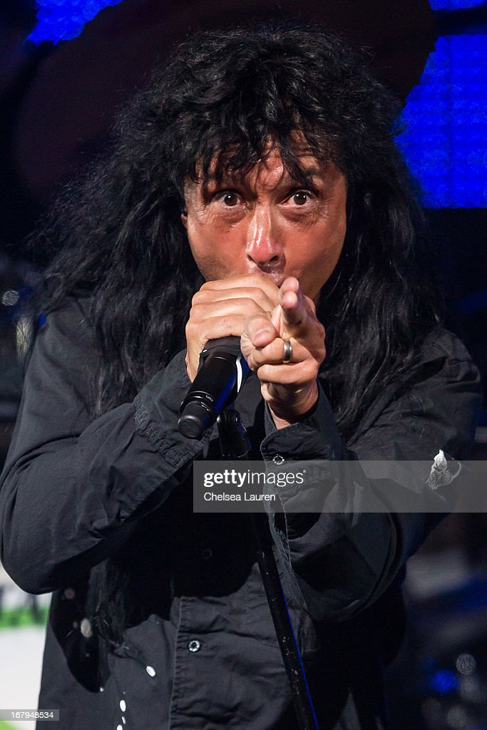 Vocalist <a gi-track='captionPersonalityLinkClicked' href=/galleries/search?phrase=Joey+Belladonna&family=editorial&specificpeople=234903 ng-click='$event.stopPropagation()'>Joey Belladonna</a> of Anthrax performs at the 5th annual Revolver Golden Gods award show at Club Nokia on May 2, 2013 in Los Angeles, California.