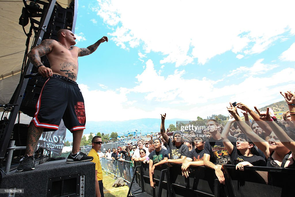 Vocalist Johnathan 'Johnny Plague' Cooke of Winds of Plague performs at the 2010 Rockstar Energy Drink Mayhem Festival at San Manuel Amphitheater on...