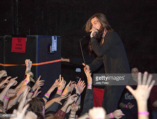 Vocalist Jordan Buckley of the heavy metal band Every Time I Die performs at The Emerson Theater on December 13 2013 in Indianapolis Indiana