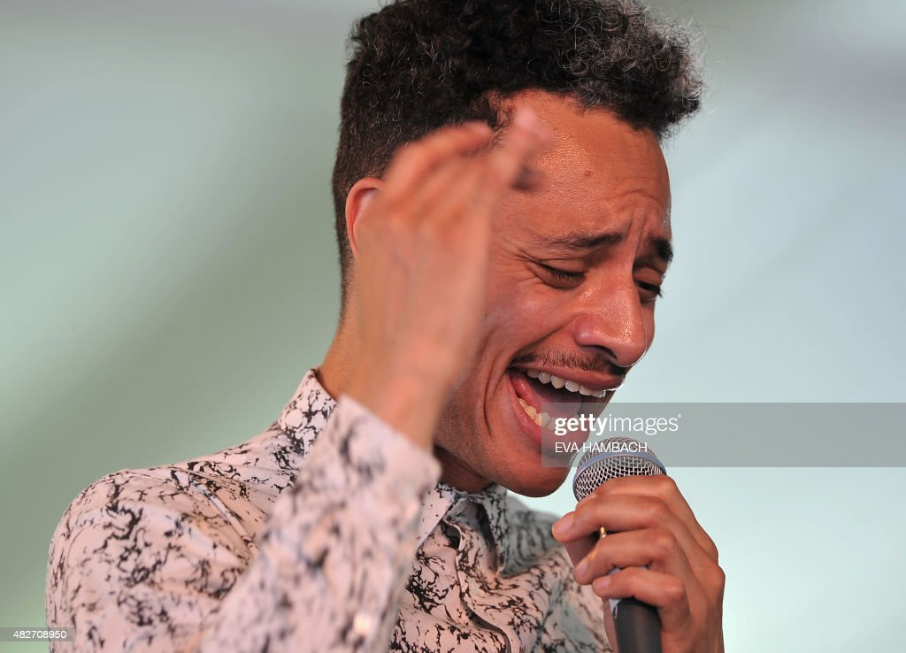 Vocalist <a gi-track='captionPersonalityLinkClicked' href=/galleries/search?phrase=Jos%C3%A9+James&family=editorial&specificpeople=14698698 ng-click='$event.stopPropagation()'>José James</a> performs at the Newport Jazz Festival in Newport, Rhode Island, on August 1, 2015. AFP PHOTO/ Eva HAMBACH