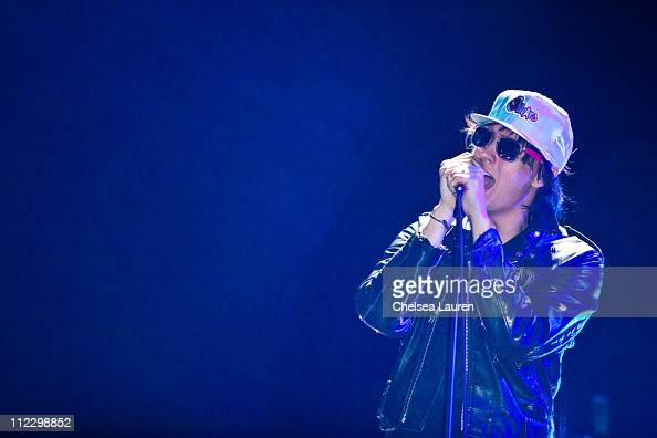 Vocalist Julian Casablancas of The Strokes performs at day 3 of the 2011 Coachella Valley Music Arts Festival at The Empire Polo Club on April 17...
