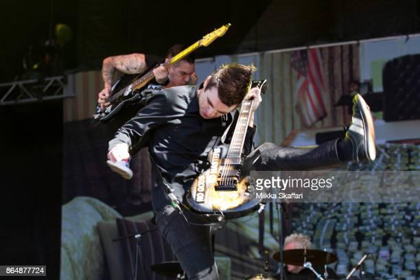 Vocalist Justin Sane and bassist Chris Barker of AntiFlag perform at Monster Energy Aftershock Festival 2017 at Discovery Park on October 21 2017 in...