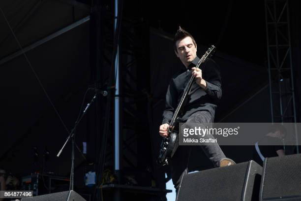 Vocalist Justin Sane of AntiFlag performs at Monster Energy Aftershock Festival 2017 at Discovery Park on October 21 2017 in Sacramento California