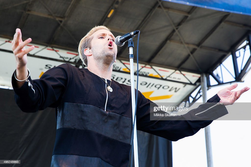 Vocalist <a gi-track='captionPersonalityLinkClicked' href=/galleries/search?phrase=Justin+Tranter&family=editorial&specificpeople=5519598 ng-click='$event.stopPropagation()'>Justin Tranter</a> of Semi Precious Weapons performs at Live 105 BFD on June 1, 2014 in Mountain View, California.