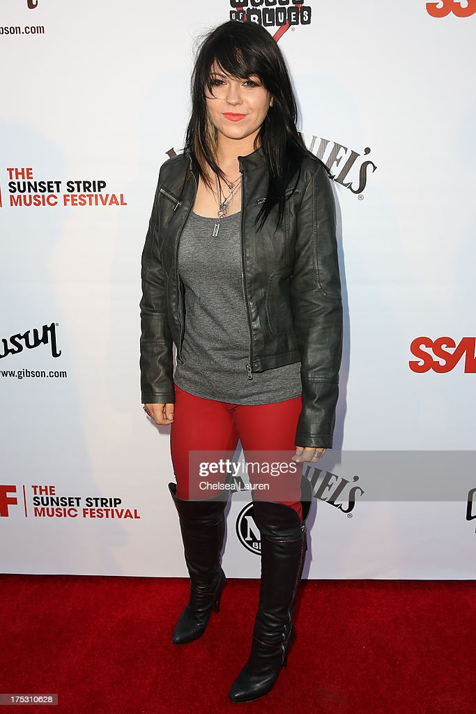 Vocalist Katherine Pawlak of Sad Robot arrives at the 6th annual Sunset Strip Music Festival launch party honoring Joan Jett at House of Blues Sunset Strip on August 1, 2013 in West Hollywood, California.