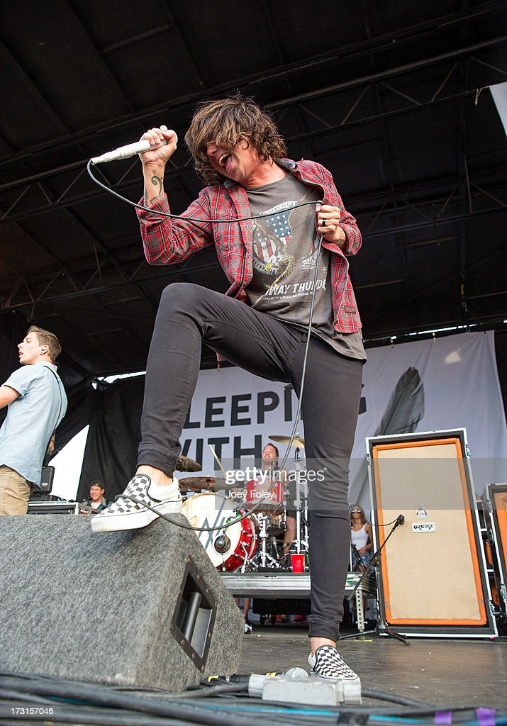 Vocalist Kellin Quinn of Sleeping with Sirens performs during the Vans Warped Tour 2013 at Klipsch Music Center on July 3, 2013 in Noblesville, Indiana.