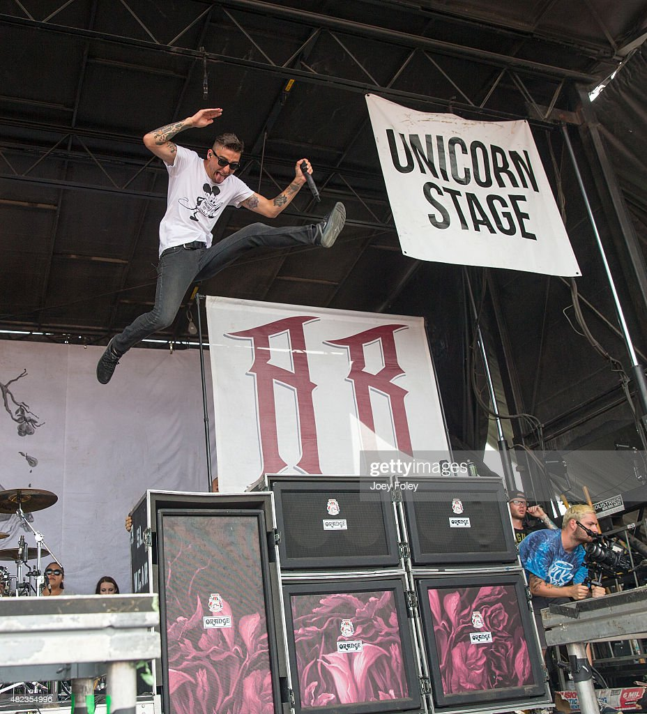 Vocalist Kyle Pavone of We Came as Romans performs live onstage at Klipsch Music Center on July 29 2015 in Noblesville Indiana