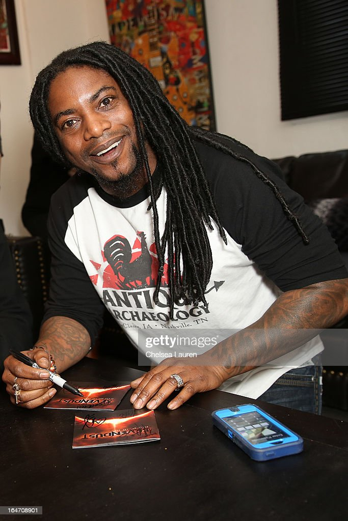 Vocalist <a gi-track='captionPersonalityLinkClicked' href=/galleries/search?phrase=Lajon+Witherspoon&family=editorial&specificpeople=838041 ng-click='$event.stopPropagation()'>Lajon Witherspoon</a> of Sevendust attends the in-store signing and meet and greet celebrating the release of their album 'Black Out The Sun' at SoundCheck Hollywood on March 26, 2013 in West Hollywood, California.