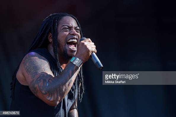 Vocalist Lajon Witherspoon of Sevendust performs at 2015 Monster Energy Aftershock Festival at Gibson Ranch County Park on October 25 2015 in...