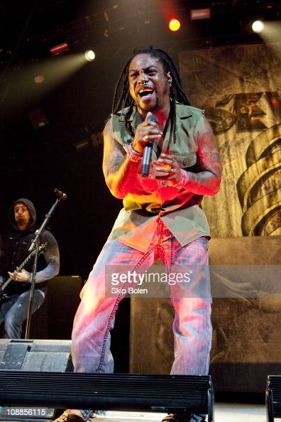 Vocalist Lajon Witherspoon of Sevendust performs at the Mississipi Coast Coliseum on February 5 2011 in Biloxi City