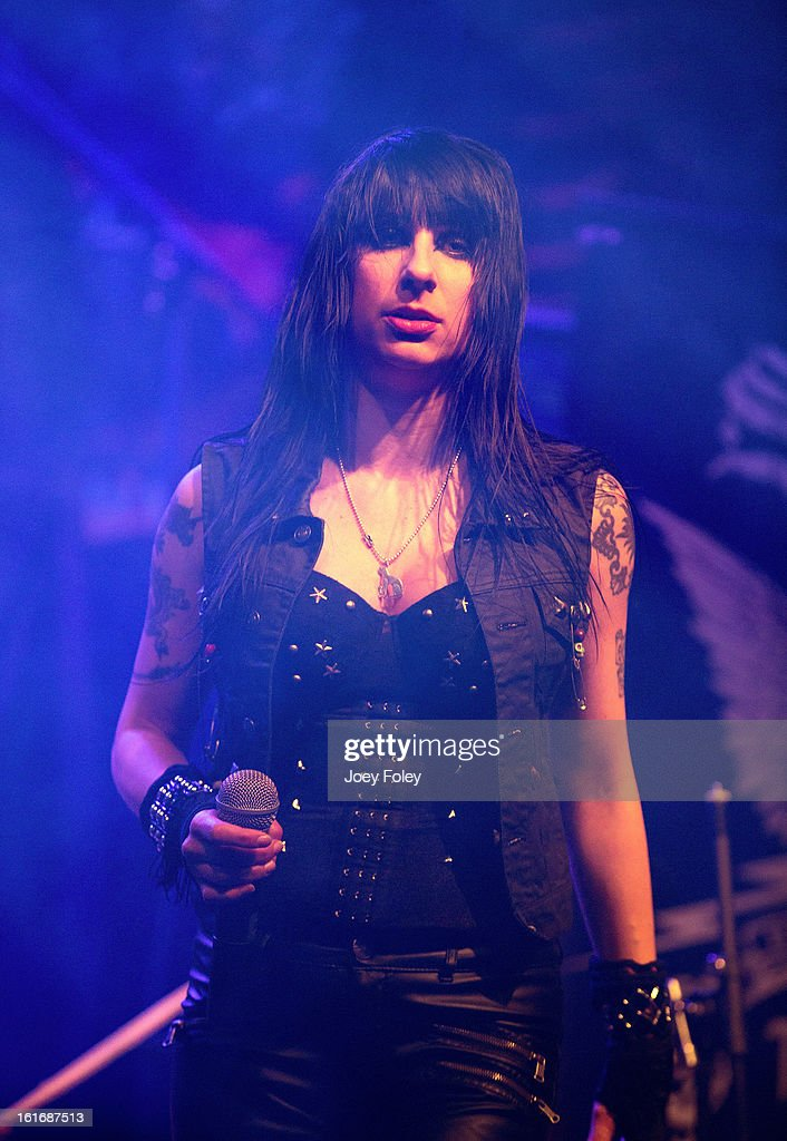 Vocalist Liv Jagrell of Sister Sin performs in concert at Mojoes on February 13, 2013 in Joliet, Illinois.