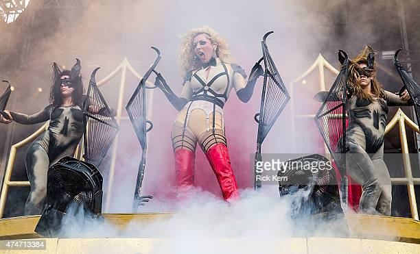 Vocalist Maria Brink of In This Moment performs onstage during River City Rockfest at the ATT Center on May 24 2015 in San Antonio Texas