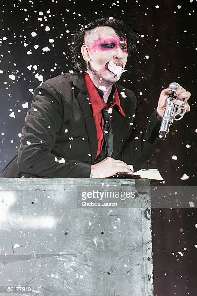 Vocalist Marilyn Manson performs on day 3 of the Sunset Strip Music Festival on August 18 2012 in West Hollywood California