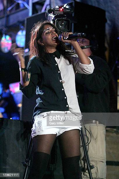 Vocalist MIA performs during the second day of the Austin City Limits music Festival at Zilker Park on October 9 2010 in Austin Texas