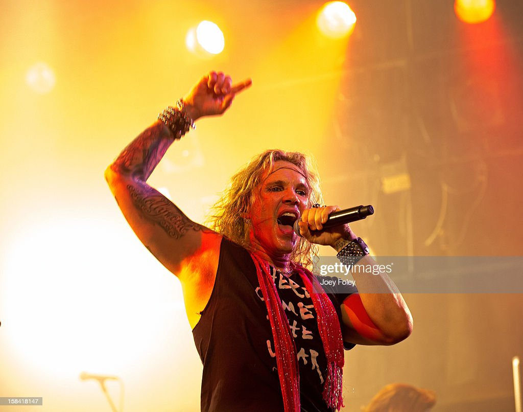 Vocalist Michael Starr aka Ralph Saenz of Steel Panther performs in concert at Bogart's on December 15, 2012 in Cincinnati, Ohio.