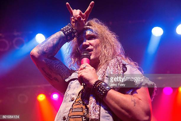 Vocalist Michael Starr Stix Zadinia of Steel Panther perform live onstage at Egyptian Room at Old National Centre on December 11 2015 in Indianapolis...