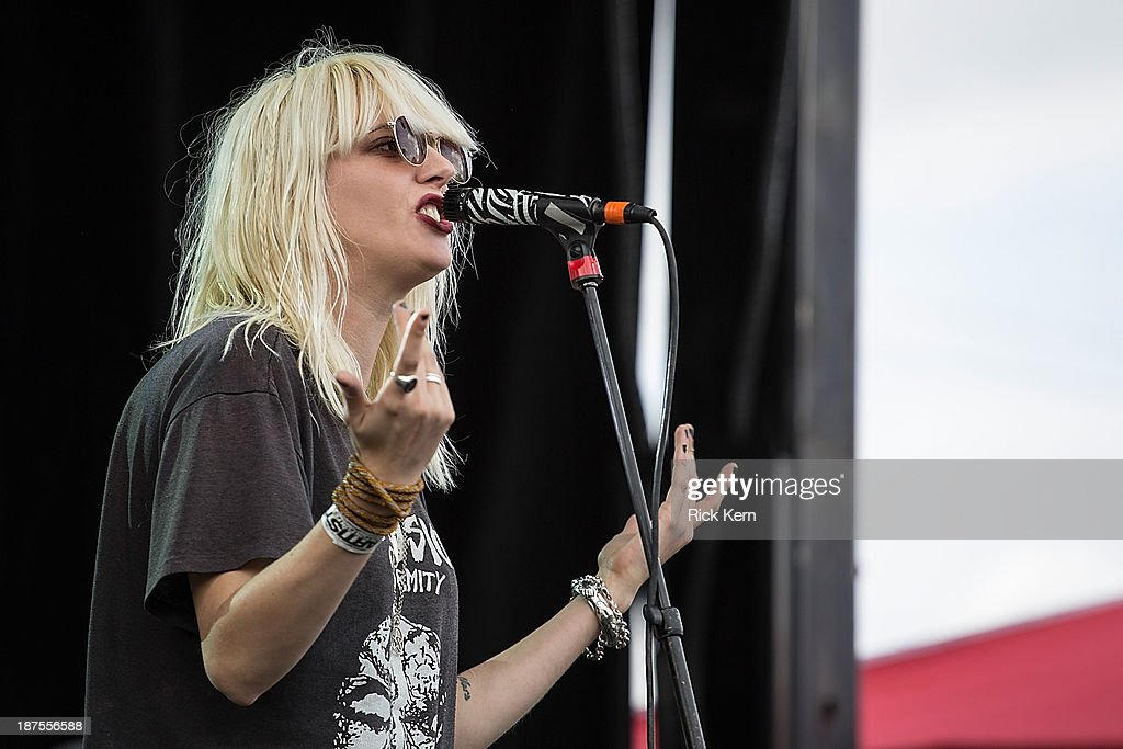 Vocalist Mish Way of White Lung performs on stage during Day 2 of Fun Fun Fun Fest at Auditorium Shores on November 9, 2013 in Austin, Texas.