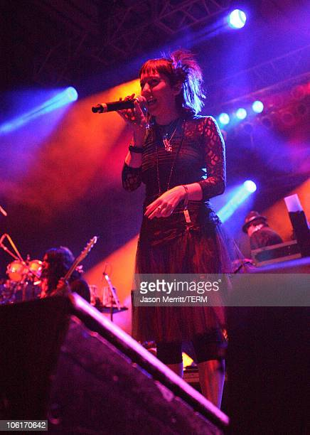 Vocalist Natalia Clavier performs with 'Thievery Corporation' during the Vegoose Music Festival 2007 at Sam Boyd Stadium on October 27 2007 in Las...