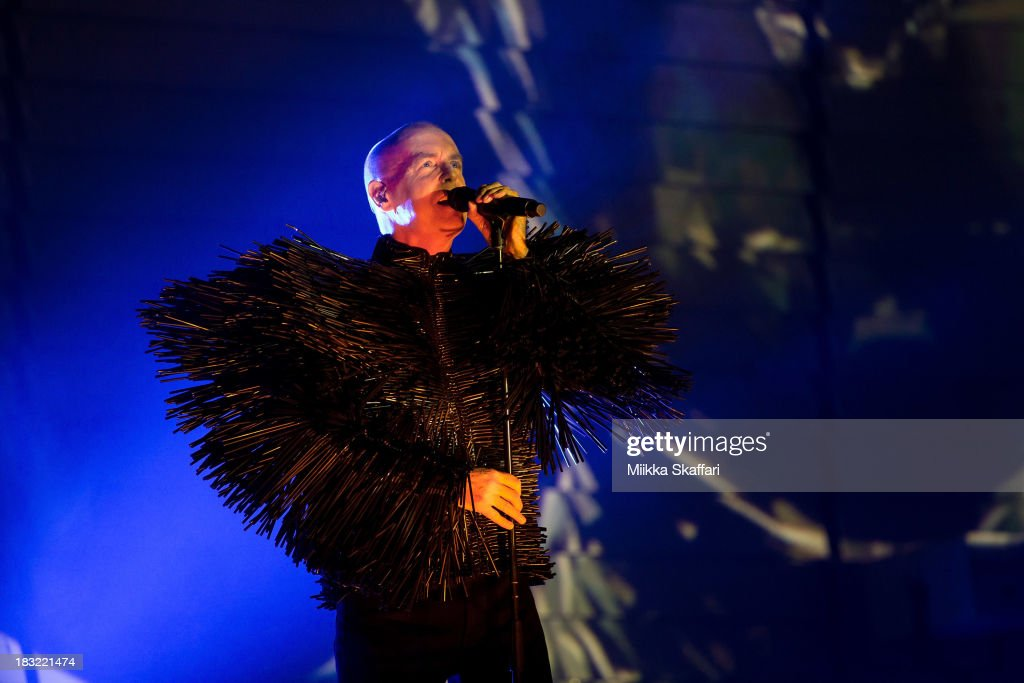 Vocalist Neil Tennant of the Pet Shop Boys is performing at The Fox Theatre on October 5 2013 in Oakland California