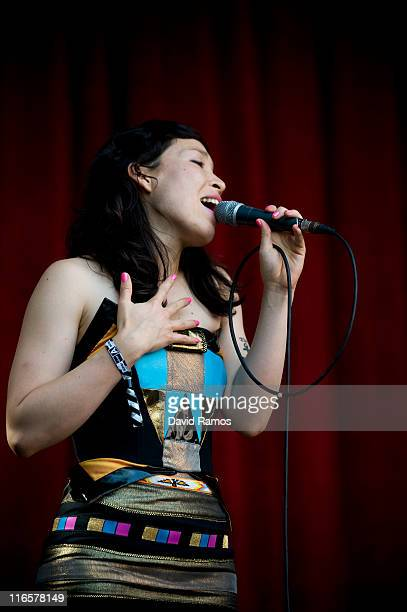 Vocalist of Little Dragon Yukimi Nagano of Japan performs on stage during the Sonar 2011 Festival on June 16 2011 in Barcelona Spain