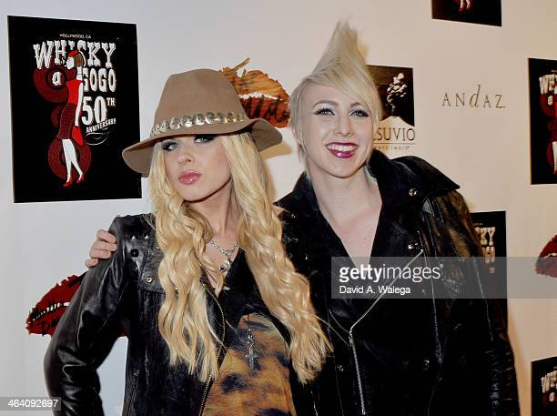 Vocalist Oriathan and guest arrive at the Martha Davis The Motels concert at Whisky a Go Go on January 19 2014 in West Hollywood California