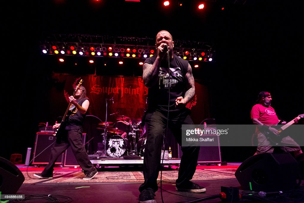 Vocalist Phil Anselmo, bassist Stephen Taylor and guitarist Kevin Bond of Superjoint perform at City National Civic on October 29, 2015 in San Jose, California.