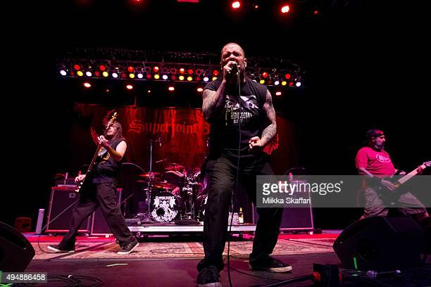 Vocalist Phil Anselmo bassist Stephen Taylor and guitarist Kevin Bond of Superjoint perform at City National Civic on October 29 2015 in San Jose...
