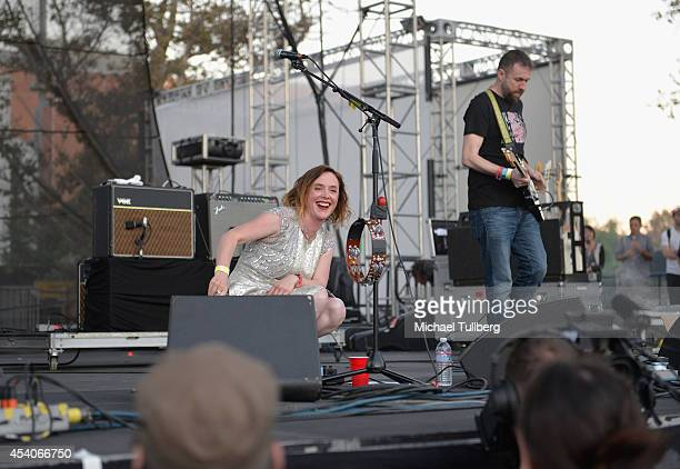 Vocalist Rachel Goswell and guitarist Christian Savill of Slowdive perform during Day 1 of FYF Fest 2014 at LA Sports Arena Exposition Park on August...
