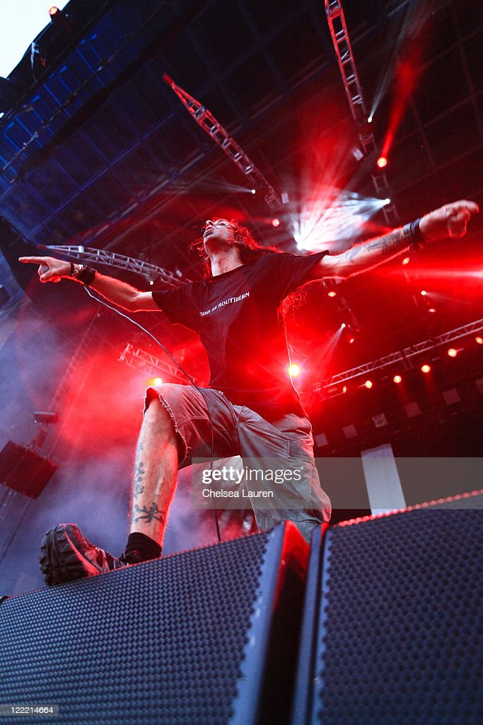 Vocalist Randy Blythe of <a gi-track='captionPersonalityLinkClicked' href=/galleries/search?phrase=Lamb+of+God+-+Band&family=editorial&specificpeople=207713 ng-click='$event.stopPropagation()'>Lamb of God</a> performs at the 2010 Rockstar Energy Drink Mayhem Festival at San Manuel Amphitheater on July 10, 2010 in San Bernardino, California.