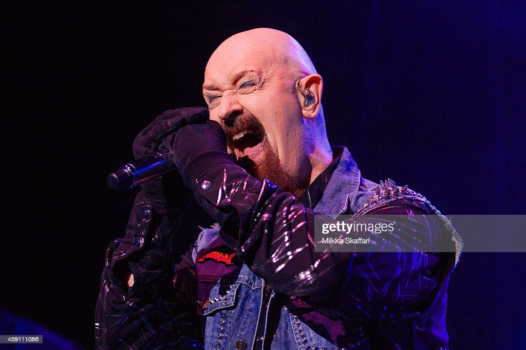 Vocalist Rob Halford of Judas Priest performs at City National Civic on November 16, 2014 in San Jose, California.