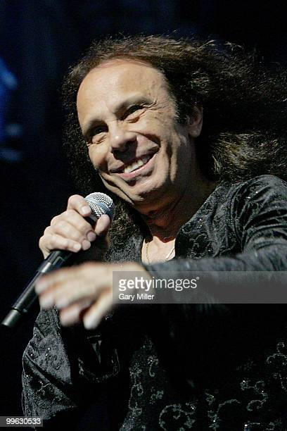 Vocalist Ronnie James Dio performing here in concert with Heaven Hell at the Verizon Wireless Amphitheater in San Antonio Texas on August 24 2008...