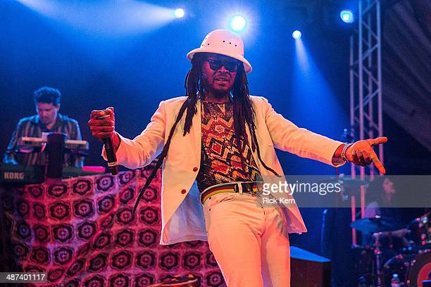 Vocalist Rootz Steele of SeeI performs on stage with Thievery Corporation at Stubb's BarBQ on April 29 2014 in Austin Texas