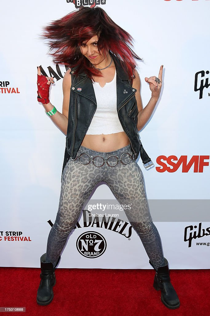 Vocalist Rosie of Rosie & The Cobras arrives at the 6th annual Sunset Strip Music Festival launch party honoring Joan Jett at House of Blues Sunset Strip on August 1, 2013 in West Hollywood, California.