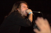 Vocalist Ryan Kirby of the metalcore band Fit For A King performs in front of a sold out crowd at The Emerson Theater on October 27 2013 in...