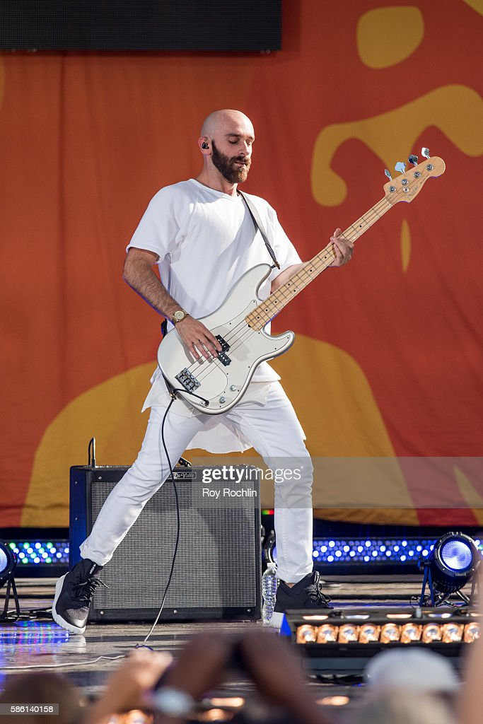 Vocalist Sam Harris on stage as X Ambassadors perform on ABC's 'Good Morning America' at SummerStage at Rumsey Playfield Central Park on August 5...