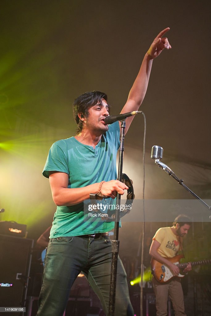Vocalist Sameer Gadhia of Young the Giant performs at Stubb's Bar-B-Q on March 25, 2012 in Austin, Texas.