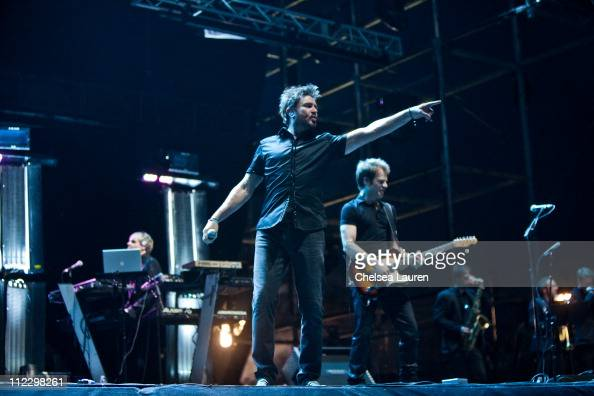Vocalist Simon Le Bon of Duran Duran performs at day 3 of the 2011 Coachella Valley Music Arts Festival at The Empire Polo Club on April 17 2011 in...