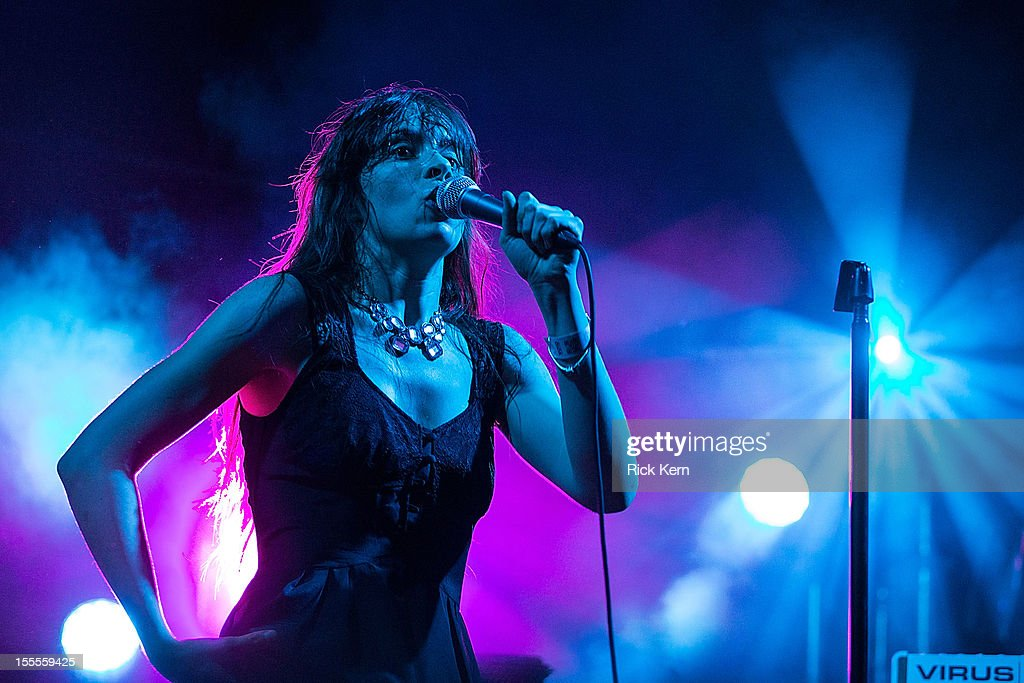 Vocalist Teri Gender Bender performs in concert with Omar Rodriguez-Lopez during day three of Fun Fun Fun Fest at Auditorium Shores on November 4, 2012 in Austin, Texas.